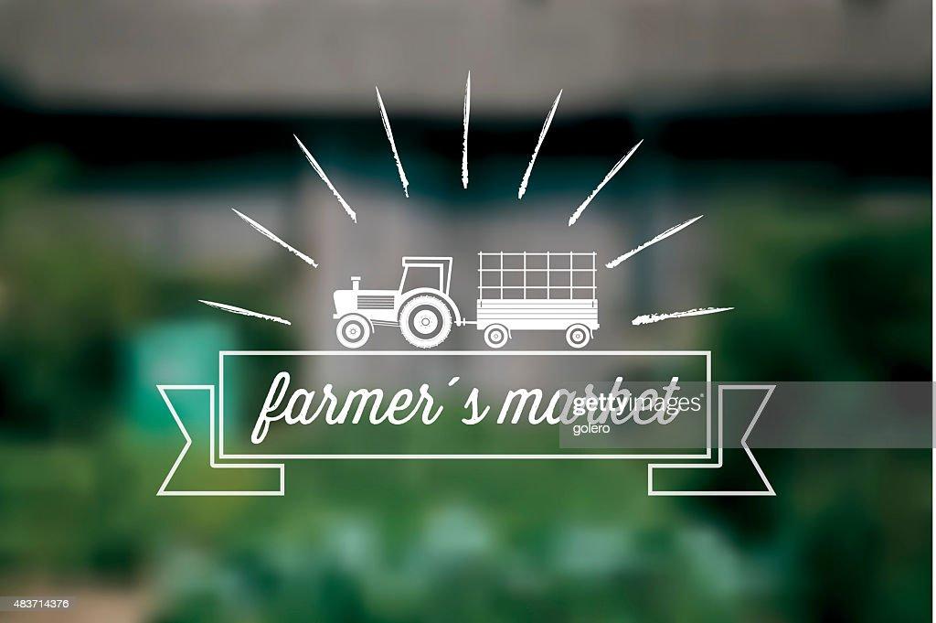 Farmers Marketsymbol Auf Verschwommene Farm Hintergrund