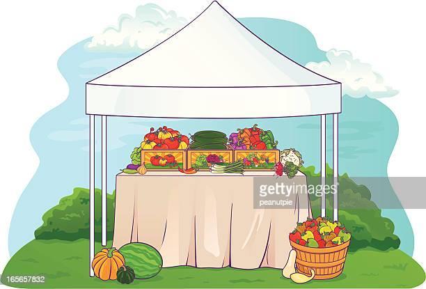 ilustraciones, imágenes clip art, dibujos animados e iconos de stock de tabla de mercado de agricultores escena - puesto de mercado