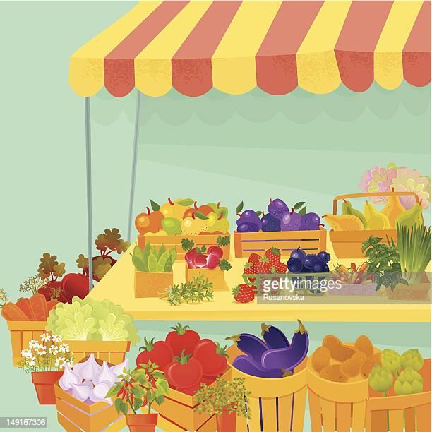 ilustraciones, imágenes clip art, dibujos animados e iconos de stock de farmer's market - puesto de mercado