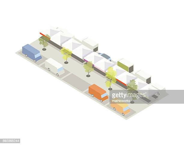 farmers market with food trucks illustration - mathisworks architecture stock illustrations