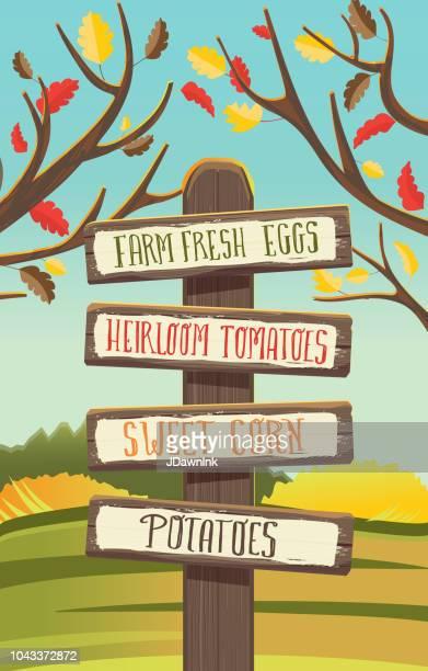 Post-Bauern Gemüse Ernte Herbst oder Herbst unter dem Motto Holzschild