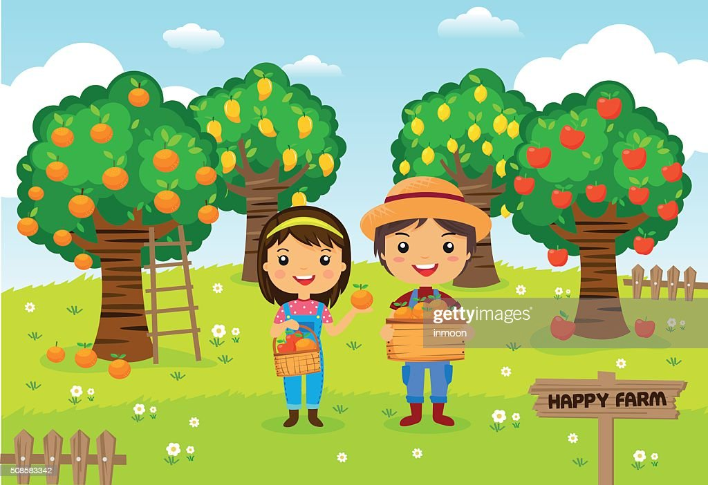 Farmers working in a farm - Cartoon vector illustration