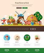 Farmery website header banner with webdesign elements
