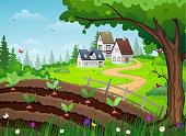 Farmhouse and vegetable garden