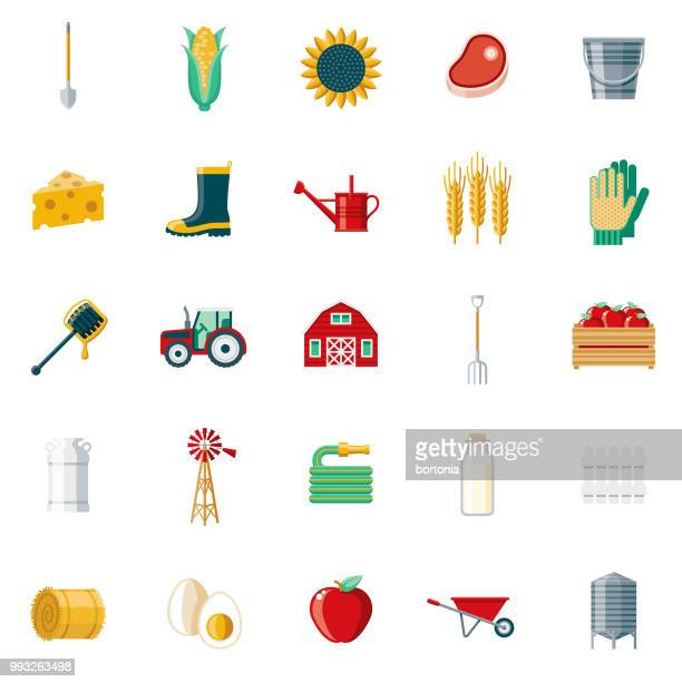 farming & agriculture flat design icon set - tractor stock illustrations