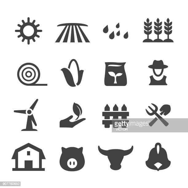 farming and agriculture icons - acme series - corn stock illustrations, clip art, cartoons, & icons