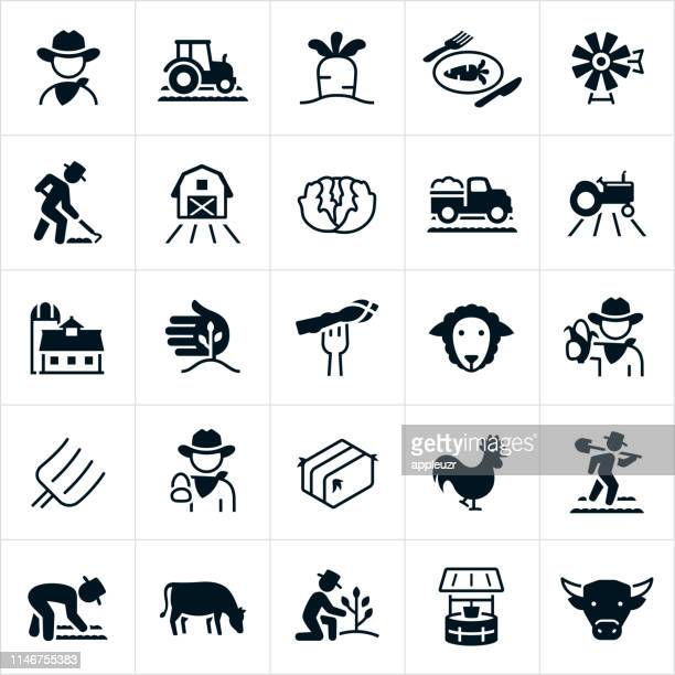 ilustrações de stock, clip art, desenhos animados e ícones de farming and agriculture icons - agricultura