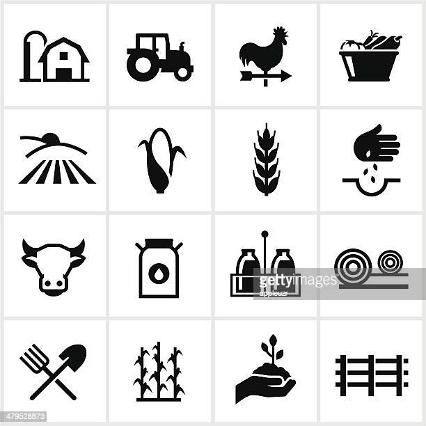 farming and agriculture icons - tractor stock illustrations