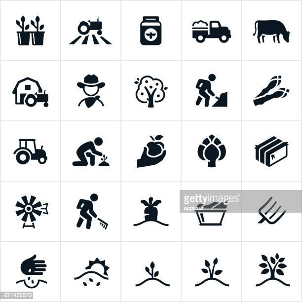 farming and agriculture icons - farm stock illustrations