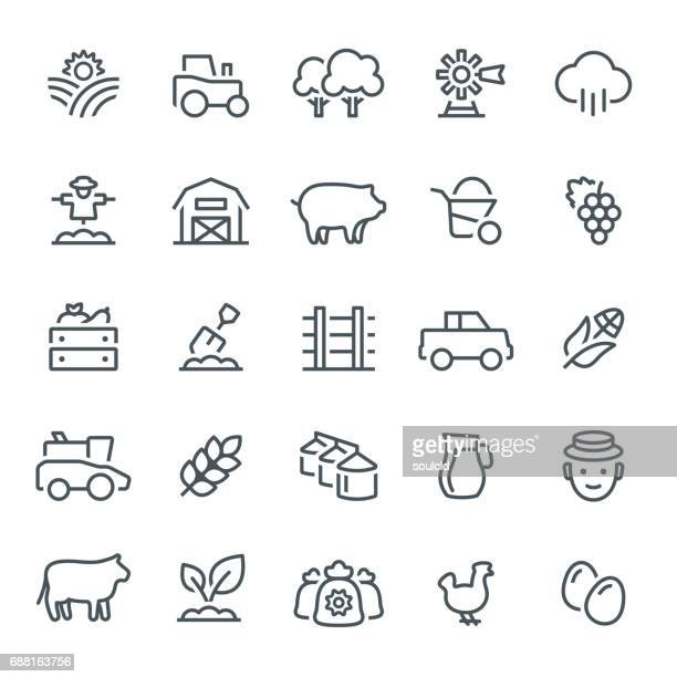 farming and agriculture icons - harvesting stock illustrations