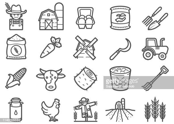 farming and agriculture line icons set - garden fork stock illustrations