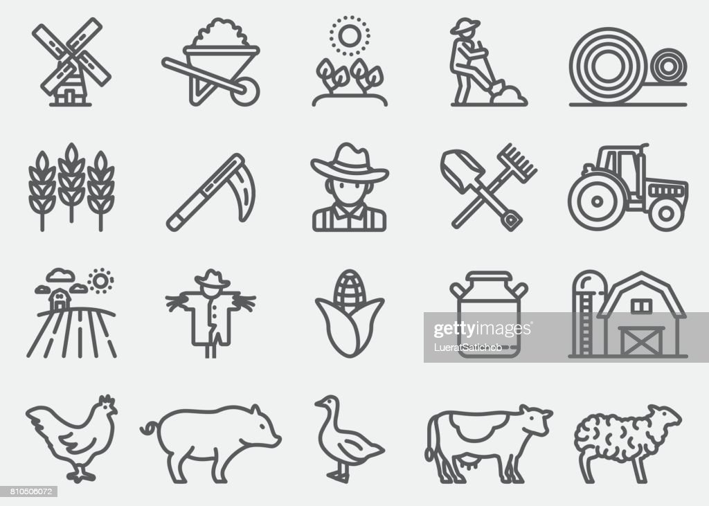 Farming and Agriculture Line Icons : stock illustration