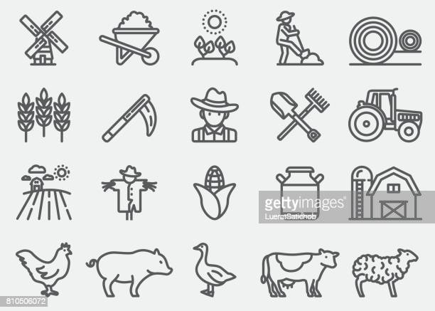 farming and agriculture line icons - cow stock illustrations