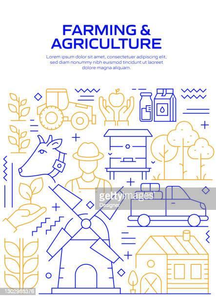 農業と農業関連現代線スタイルのベクトル図 - スマート農業点のイラスト素材/クリップアート素材/マンガ素材/アイコン素材