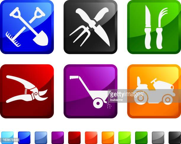 farming and gardening agricultural tools vector icon set stickers - harrow agricultural equipment stock illustrations, clip art, cartoons, & icons