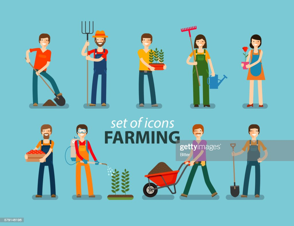 Farming and gardening icon set. People at work on the