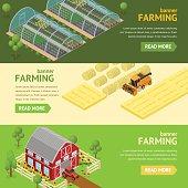 Farming Banner Card Horizontal Set. Vector