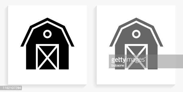 農業納屋黒と白の正方形のアイコン - 納屋点のイラスト素材/クリップアート素材/マンガ素材/アイコン素材
