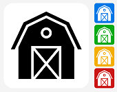 Farming Barn Icon Flat Graphic Design