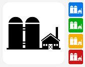 Farming Building Icon Flat Graphic Design