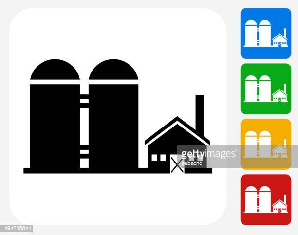 Farming Building Icon Flat Graphic Design