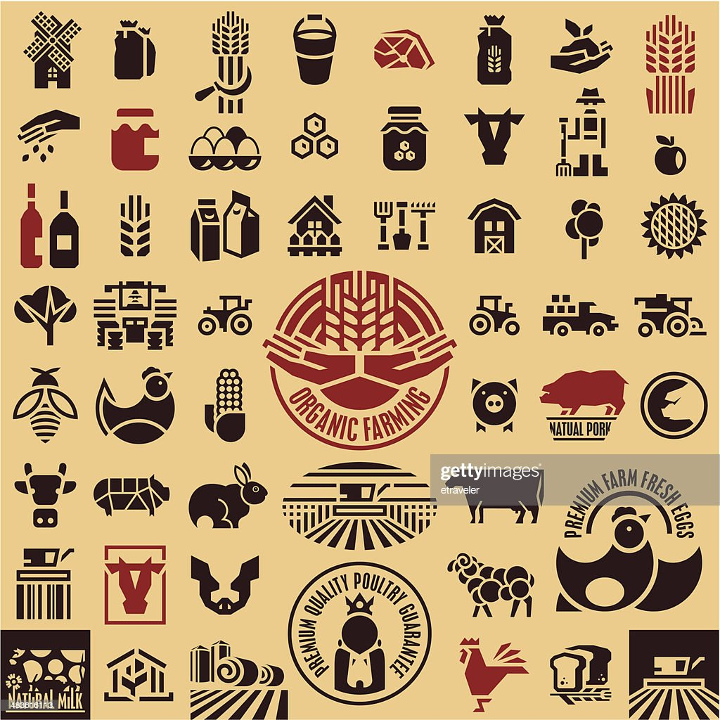 Farming equipment icons set