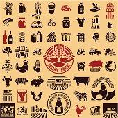 Farming equipment icons set