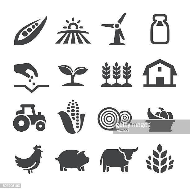 farming icons - acme series - cow stock illustrations