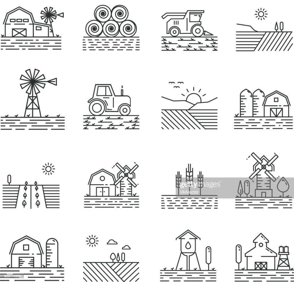 Farming icons in a thin linear style