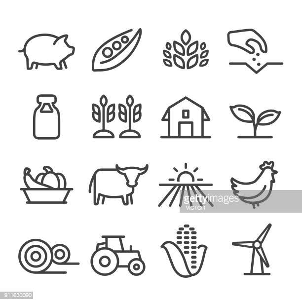 farming icons - line series - tractor stock illustrations