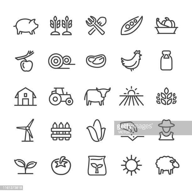 farming icons - smart line series - crop stock illustrations