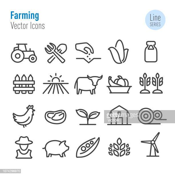 farming icons - vector line series - tractor stock illustrations