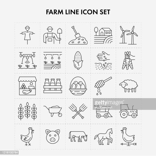 ilustraciones, imágenes clip art, dibujos animados e iconos de stock de conjunto de iconos de línea de cultivo - puesto de mercado