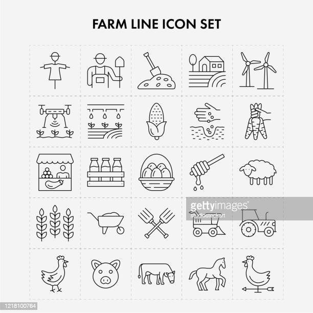 farming line icon set - irrigation equipment stock illustrations