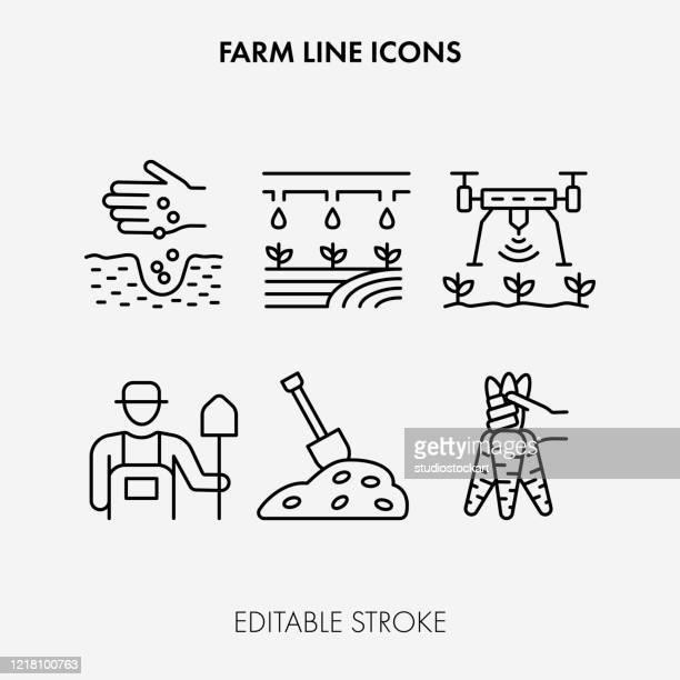 farming line icons. editable stroke - irrigation equipment stock illustrations
