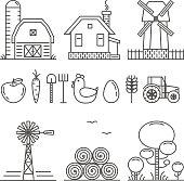 Farming Outline Icons Set