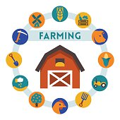 Farming related vector infographic, flat style