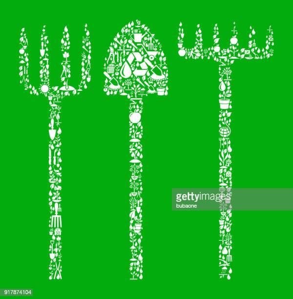 L'agriculture ustensiles vert jardin et jardinage Background Pattern