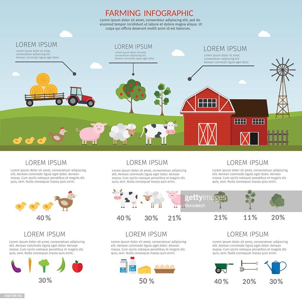 Farming vector products infographic