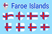Faroe Islands vector flag set, Faroese national flags collection. Flat isolated icons. Country name in traditional colors. Illustration. Web, sports pages, travel, geographic, cartographic design