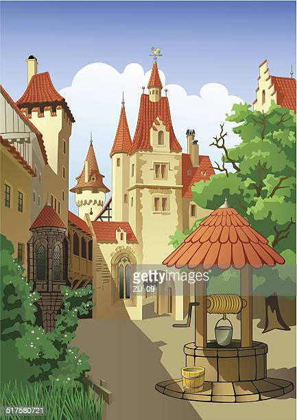 farytale castle - tower stock illustrations