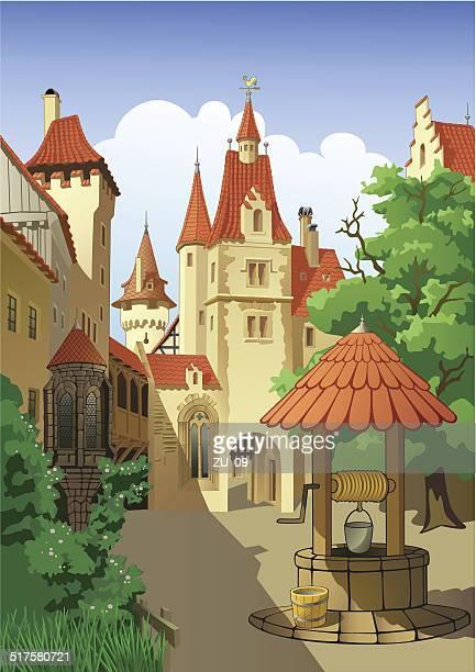farytale castle - castle stock illustrations, clip art, cartoons, & icons
