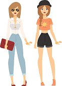 Fashion abstract vector girls silhouette isolated on fashion background