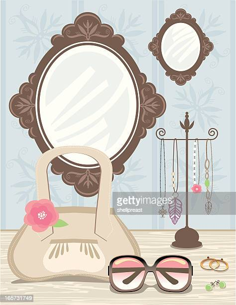 Fashion accessories at dressing table