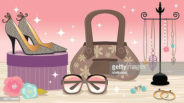 fashion accessories boutique - boutique stock illustrations, clip art, cartoons, & icons