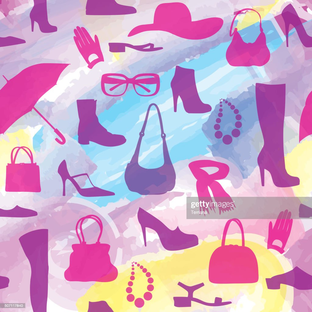 Fashion accessories seamless watercolor pattern.