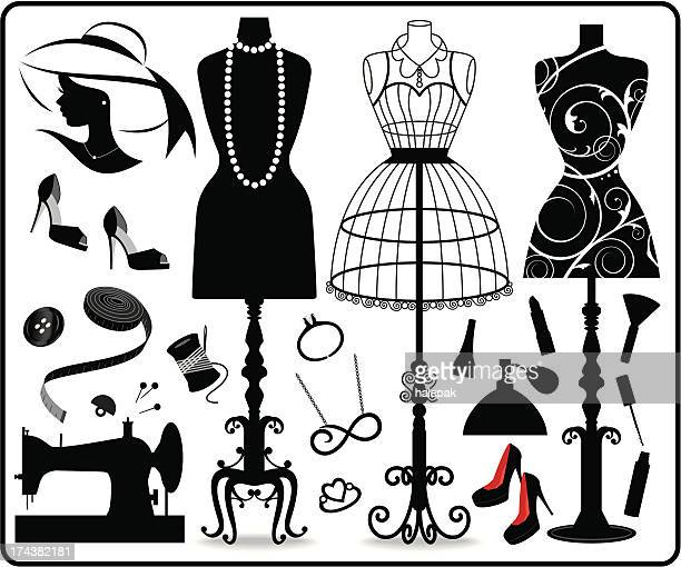 fashion and clothing - sewing machine stock illustrations, clip art, cartoons, & icons