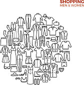 Fashion and shopping concept with clothes thin line vector icons