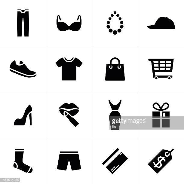 fashion and shopping icons - black pants stock illustrations
