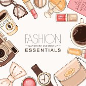 Fashion background with woman accessories and cosmetics